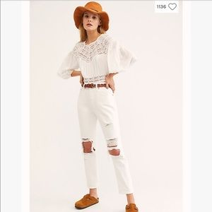 Levi's 501 Original High Rise White Crop Jeans
